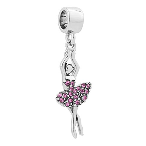 Charmed Craft Crystal Shoes Charms Key Heart Charms Bell Charms Girl Dancing Charms Beads for Bracelets (dancing girl)