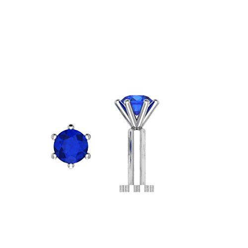Round Shape 0.10 ct D/VVS1 Simulated diamond 925 Sterling Silver Stud Screw & Twist Wire nose pin Blue Sapphire Gold Brooch
