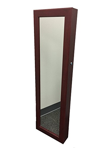 Locking Jewelry Armoire with Mirror - Wall Mount or Hanging Over the Door by Perfect Life Ideas - Cherry (Small Mahogany Jewelry Armoire)