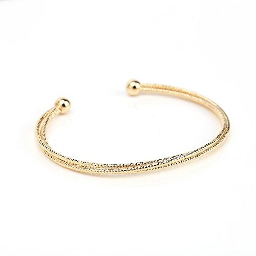 United Elegance Contemporary Gold Tone Designer Bangle Bracelet with Sleek Multi Strand Mesh Design