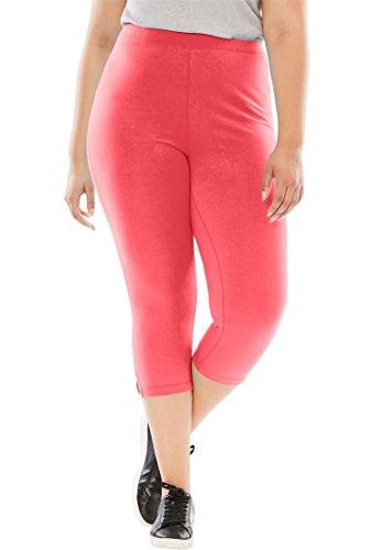Women's Plus Size Petite Capri Stretch Knit Leggings Coral Red,1X (Sporty Knit Capris)