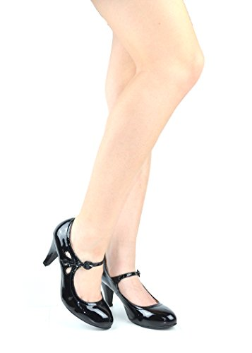 Chase & Chloe Kimmy-21 Dames Ronde Neus Doorstoken Mid-hiel Mary Jane Style Dress Pumps Zwart Patent
