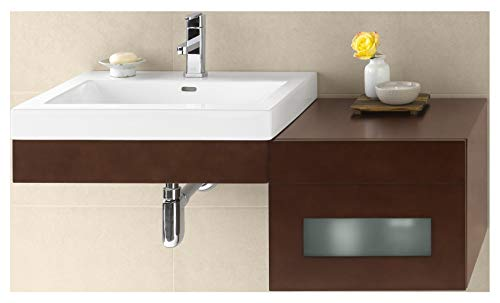RONBOW Adina 24 inch Wall Mount Bathroom Vanity Set in Dark Cherry, Frosted Glass Front Bathroom Vanity Cabinet Drawer, White Evin Bathroom Sink Top with Single Faucet Hole -