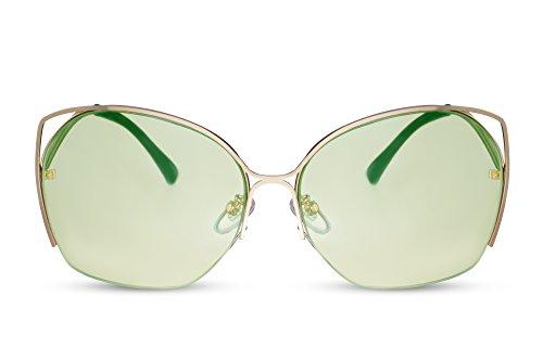 Redondas Metálica Ojo de Gold3 UV400 Cheapass Montura Grandes Gato Mujer Gafas Sol de In6WqxPpOw