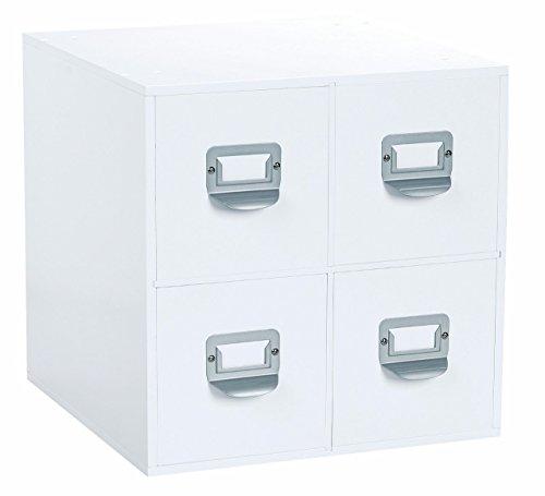 4-Drawer Craft Organizer Cube, White