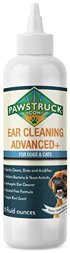 Dog Ear Cleaner, 8oz   Made in USA, Best Ear Mite & Infection Treatment   Alcohol-Free, Aloe Vera Infused, Non-Irritating Ear Wash Drops Solution Formula   Eliminates Itching & Odors for Cats & Pets