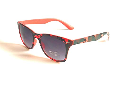 BRAND NEW CLASSIC STYLE SUNGLASSES NEON ORANGE CAMO PRINT UNISEX MIRROR LENS RETRO ()