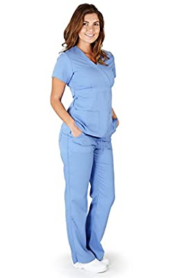 Ultra Soft Brand Scrubs - Premium Womens Junior Fit Mock Wrap Scrub Set