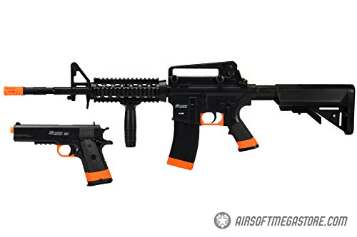 - Sig_Sauer Patrol Kit w/Spring Pistol & M4 AEG Airsoft Rifle [5000 BBS Included] (Black/Orange)