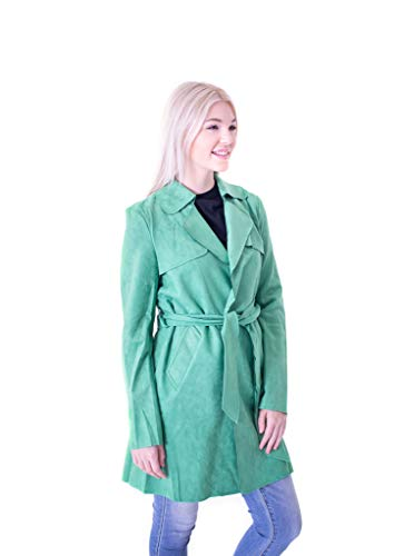 Solitaire Faux Suede Trench Coat Jacket (x-Large, Kelly Green)