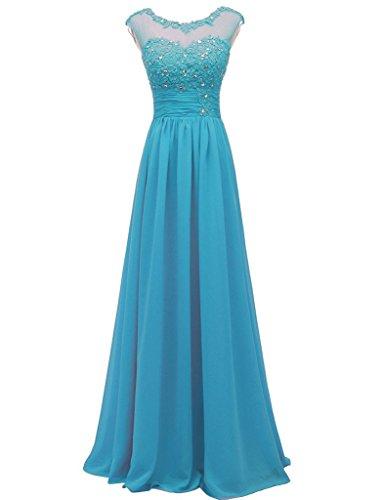 Elegant Lange Brautjungfernkleider Abendkleider Appliques Carnivalprom Chiffon Damen Cocktailkleider Blau Iqtwqv