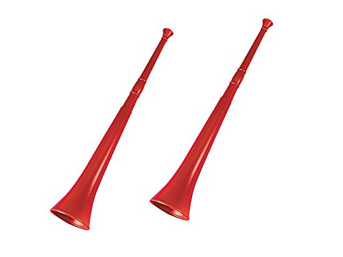 Fun Express Set of 2 Red Stadium Horns Bundled by Maven Gifts ()