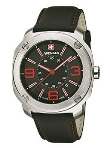 Wenger Escort Black Dial Stainless Steel Leather Quartz Men's Watch 01.1051.103