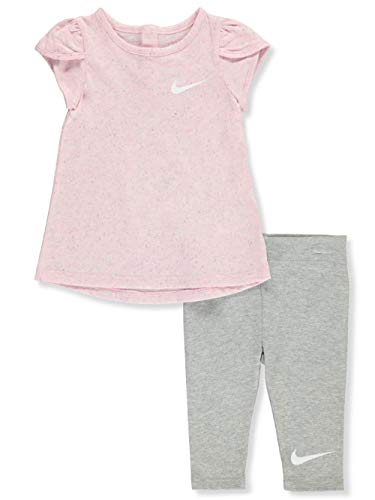 Nike Baby Girls' 2-Piece Leggings Set Outfit - Dark Gray Heather, 24 Months