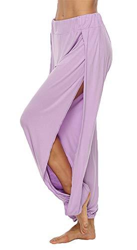 AvaCostume High Slit Harem Pants Women Hippie Harem Pants Trousers Lightpurple XL -