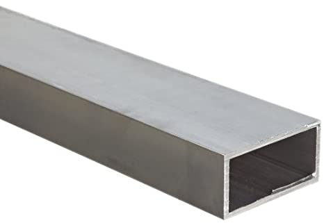 6063 Aluminum Hollow Rectangular Bar, T52 Temper, Extruded, Inch, ASTM B221