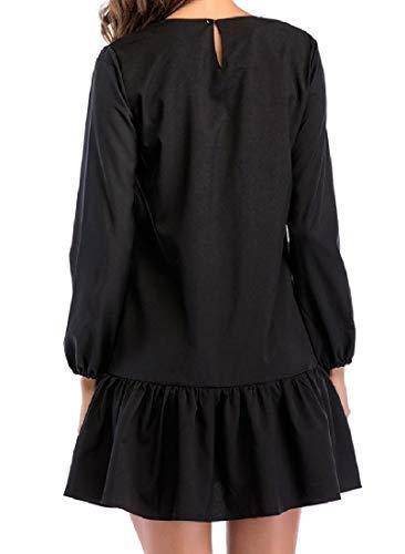 Coolred-femmes Manches Longues Patineuse Ras Du Cou Élégant Mini Noir Robe Brodée