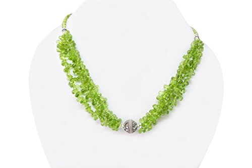 Natural Green Peridot Teardrop Beads Necklace with Sterling Silver findings 16