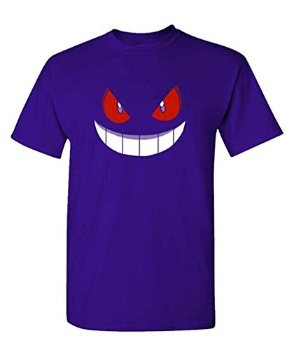 XFPrint66 - Gengar Halloween FACE - Mens Cotton T-Shirt Funny Design Purple ()