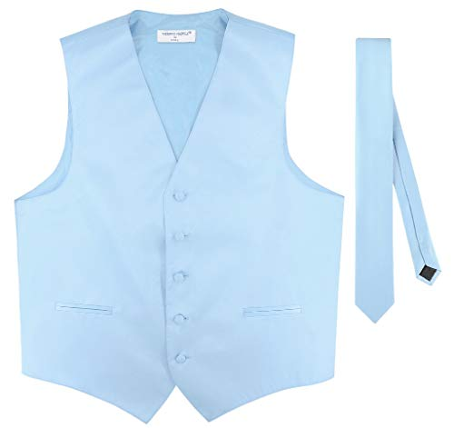 Men's Dress Vest & Skinny Necktie Solid Baby Blue Color 2.5