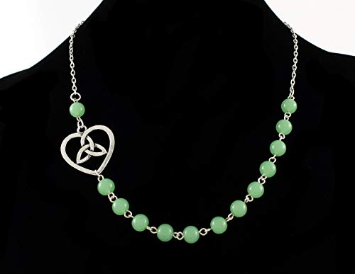 Necklace with Celtic Heart and Green Jade Beads, Mint Green Necklace, Silver Plated, Gaelic Jewelry, 18 Inches, Magnetic Clasp Optional