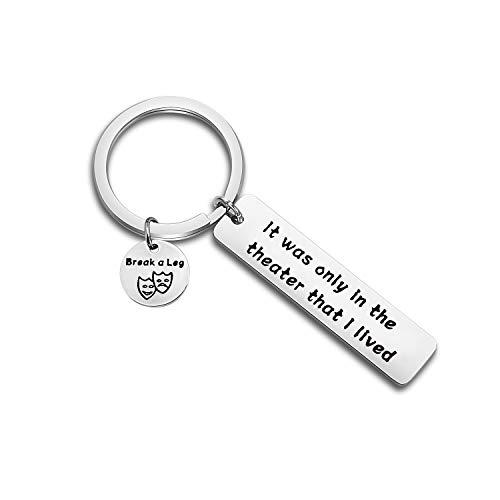 MYOSPARK Comedy Tragedy Keychain Theater Worker Gift Drama Teacher Gift It was Only in The Theater That I Lived Keychain Musician Jewelry (Theater Keychain) ()
