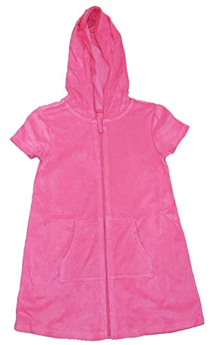 Wonder Nation Girls Hooded Terry Swim Cover Up (Pink Sizzle, X-Small 4/5)