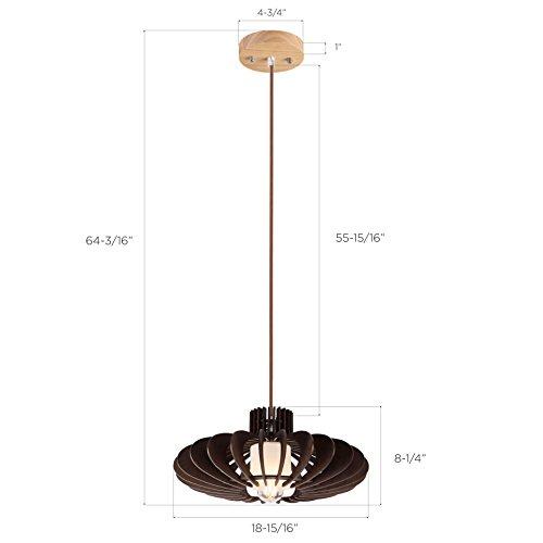 MAYKKE Oban Medium Wooden Pendant Lamp | Lantern Style with Dark Brown Rings, Hanging Light with Adjustable Cord | Walnut Wood Finish, MDB1040201 by Maykke (Image #5)