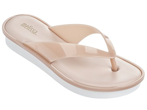 Melissa Women's New High Flip Flop, Pink/White, 9 M US