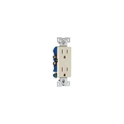 Cooper Decorator Duplex Receptacle - Cooper 1107A Electrical Outlet, Decorator Duplex Receptacle - Almond