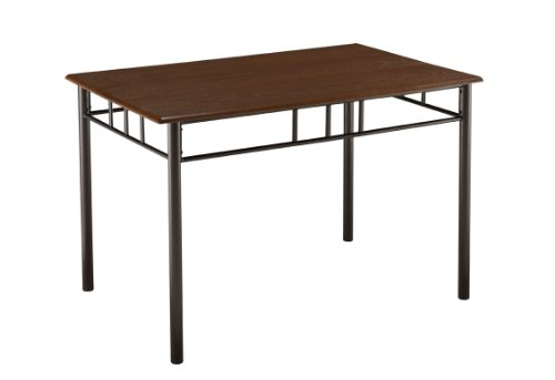 King's Brand Metal Frame With Cherry Finish Wood Top Dining Room Kitchen Table - Brown Finish Wood Dining Table