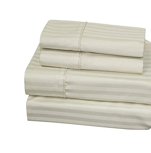 Luxurious 300 Thread Count California King Size Sheet Set,100% Egyptian Cotton Long Staple Yarns, Sateen Weave, 4pc Set: Fitted/Flat/2 Pillow Cases, Deep Pocket up to 18