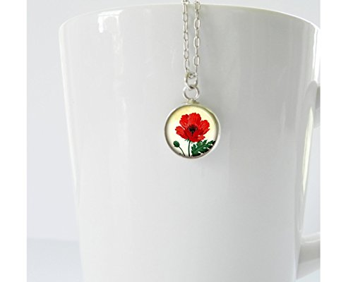 Tiny Poppy Pendant on Sterling Silver Chain Friendship Gift Veteran Gift Remembrance Gift