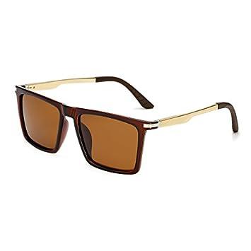 TL-Sunglasses Gafas de Sol polarizadas Polaroid Brazos de Aluminio Cuadrados Hombres de Negro de