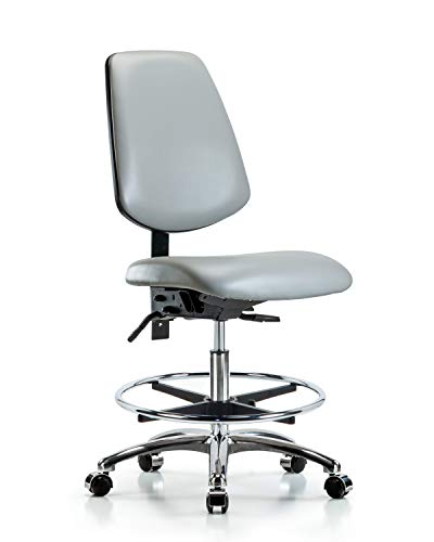 LabTech Seating LT45545 Medium Back Bench Chair, Vinyl, Chrome Base/Foot Ring/Casters, Tilt, Dove Base Foot Ring Casters