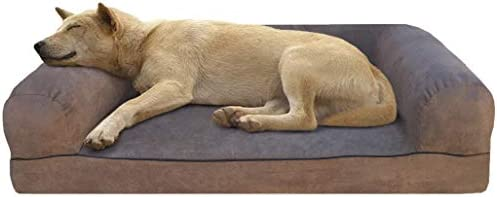 Dogbed4less Premium Orthopedic Gel Memory Foam Pet Sofa Bed with Waterproof Liner and Microsuede Brown Cover Couch Lounger 55 X37