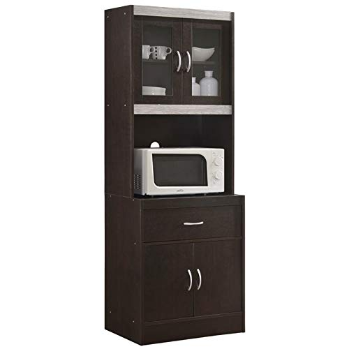 Pemberly Row Tall 24quot Wide China Kitchen Cabinet with Microwave Storage in Chocolate Gray
