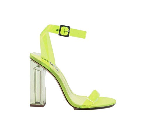 - Cape Robbin Maria-2 Women's Lucite Clear Strappy Block Chunky High Heel Open Peep Toe Sandal, Transparent, Yellow, 10