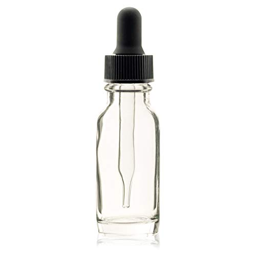 PREMIUM VIALS CREATIVE PACKAGING SOLUTIONS 1/2 Oz (15 ml) Clear Boston Round Glass Bottle w/Dropper - Pack of 12 ()