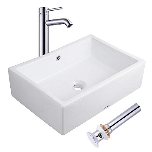 (Aquaterior Rectangle Porcelain Ceramic Bathroom Vessel Sink w/Overflow+12 1/2