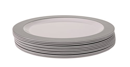 Handi-Ware 12-Piece Party Bulk Pack Signature Melamine Blend Set - Classic Wide Rim Design - Indoor/Outdoor Reusable Dinnerware - Great Paper Plate Replacement! - by Unity (10.5