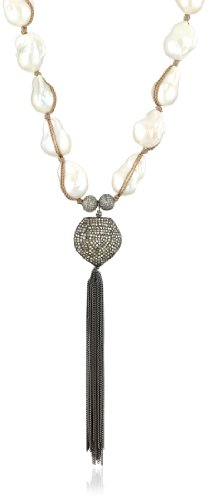 Jordan Alexander 28″ White Pearl with Diamond Heart Tassel Necklace