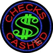 Sign Checks Led Cashed (Checks Cashed - Ultra Bright LED Sign - 26'' x 26'')