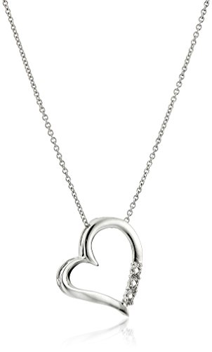 "10k Gold 3-stone Diamond Heart Pendant with 18"" Chain (1/10 Cttw; I-J Color)"