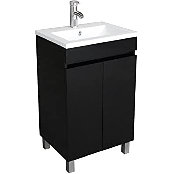 bathjoy 20 inch black single wood bathroom vanity cabinet with undermount vessel sink faucet drain combo - Small Bathroom Sinks