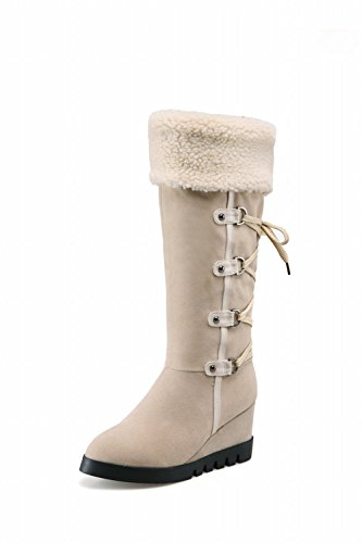 Charm Womens Wedges Boots High Foot Knee fur Winter Faux Beige Snow URPUOq