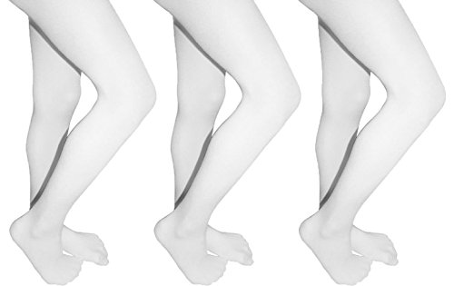 Butterfly Girls Microfiber Opaque Colored Tights 3 Pack Available in 14 Colors (8-10, White) (Colored Tights Wear)