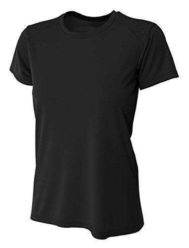 (A4 Women's Cooling Performance Crew Short Sleeve T-Shirt, Black, Small)