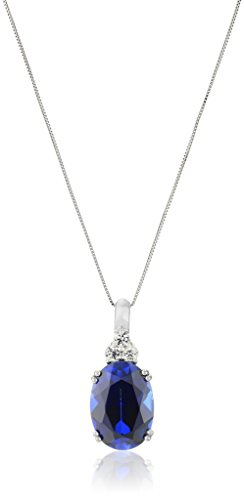 10k White Gold Oval Created Ceylon Sapphire with Created White Sapphire Accent Drop Pendant Necklace, 18""