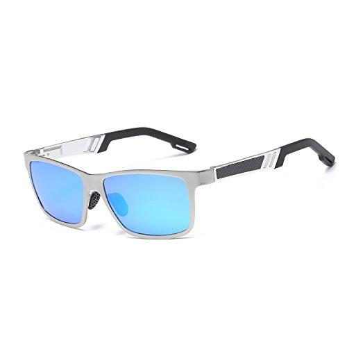 Gafas espejo de sol polarizado UV400 aluminio los de hombres gama frame Color de de UV cuadradas sol de alta colores magnesio conducción de protección aluminio WLHW Silver blue ice frame de de de Gafas Silver grey 8UdPnw